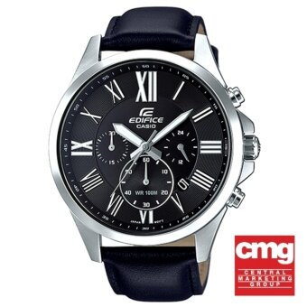 Casio Edifice นาฬิกาผู้ชาย สายหนังสีดำ รุ่น EFV-500L-1AVUDF