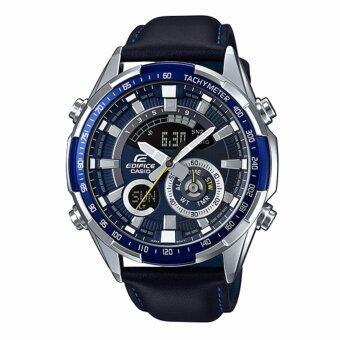 ราคา Casio Edifice นาฬิกาข้อมือผู้ชาย สายหนังสีดำ รุ่น ERA-600L-2AVUDF (หน้าปัดสีน้ำเงิน)