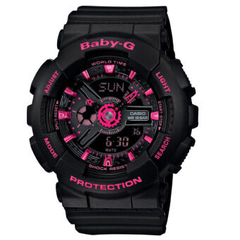 Casio เด็ก...จีสตรีสีดำสายนาฬิกายาง BA-111-1 Amp(free size)