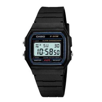 Casio นาฬิกาข้อมือ สายเรซิ่น รุ่น F-91W-1SDG