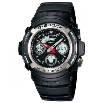 Casio g-shock นาฬิกาข้อมือผู้ชาย สีดำ สายเรซิ่น รุ่น AW-590-1ADR