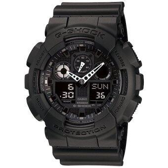 Casio G-Shock นาฬิกาข้อมือผู้ชายสาย เรซิ่นสีดำ รุ่น GA-100-1A1 (Black) / ประกัน CMG