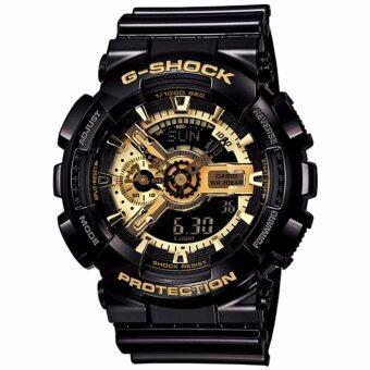 ราคา Casio G-Shock นาฬิกาข้อมือผู้ชายสาย เรซิ่นสีดำ รุ่น GA-110GB-1A (Gold/Black)