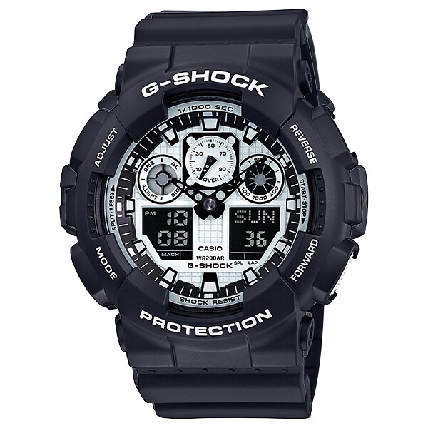Casio G-Shock นาฬิกาข้อมือ รุ่น GA-100BW-1A ที่นี่ลดเยอะสุด