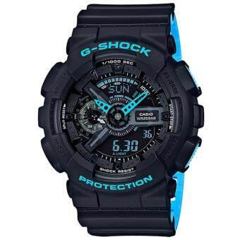 Casio G-Shock นาฬิกาข้อมือผู้ชาย สายเรซิ่น รุ่น GA-110LN-1A - สีดำ/ฟ้า