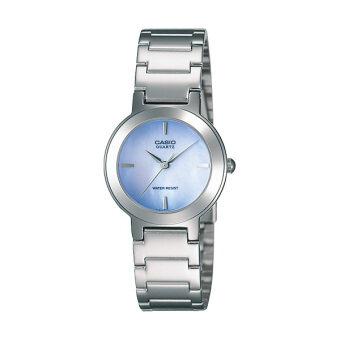 Casio นาฬิกาข้อมือผู้หญิงระบบเข็ม-สีเงิน-น้ำเงิน รุ่น LTP-1191A-2ADF-silver