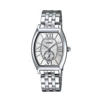 ราคา Casio นาฬิกาข้อมือผู้หญิง สายสแตนเลส รุ่น LTP-E114D-7A - Silver/White รับประกันศูนย์ 1 ปี ของแท้