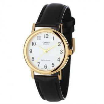 Casio นาฬิกาข้อมือผู้ชาย สายหนังสีดำ ขอบหน้าปัดทอง รุ่น MTP-1095Q-7B