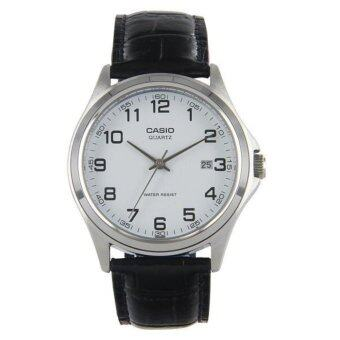 Casio นาฬิกาข้อมือผู้ชาย สายหนังสีดำ MTP-1183E-7BDF