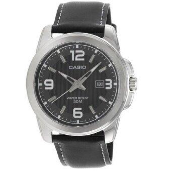 Casio นาฬิกาข้อมือ ผู้ชาย สีดำ สายหนัง รุ่น MTP-1314L-8AV