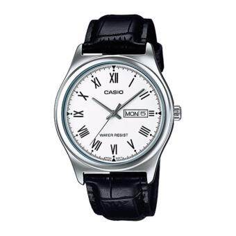 ราคา Casio นาฬิกาข้อมือผู้ชาย สายหนัง รุ่น MTP-V006L-7B - Black/Silver รับประกันศูนย์ 1 ปี ของแท้