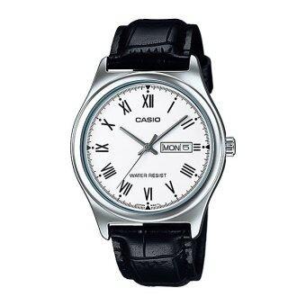 Casio นาฬิกาข้อมือ ผู้ชาย สายหนังสีดำ รุ่น MTP-V006L-7B ( White/Black )