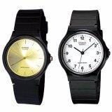 Casio นาฬิกาข้อมือผู้ชาย สีดำ สายเรซิ่น รุ่น MQ-24-7B และ MQ-24-9E แพ็คคู่