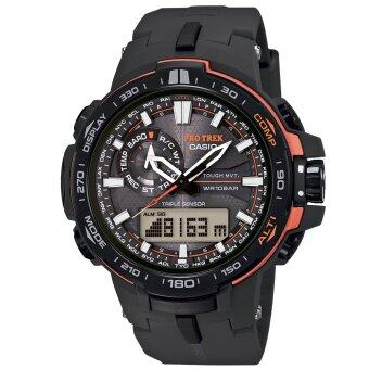 Casio ผู้ชายสีดำซึ่งมีเส้นทางสายนาฬิกายาง-PRW 6000Y-1DR(free size)