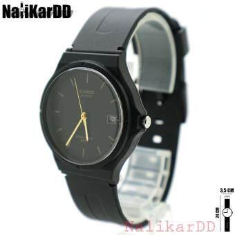 Casio (Rubber Date) นาฬิกาข้อมือผู้ชาย-ผู้หญิงและเด็ก(7+) สายยางสีดำ ทรงกลม ระบบเข็ม/วันที่