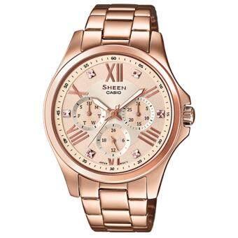 อยากขาย Casio Sheen นาฬิกาข้อมือผู้หญิง SWAROVSKI สีพิงค์โกลด์ สายแสตนเลส รุ่น SHE-3806PG-9A