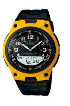 Casio Standard นาฬิกาข้อมือผู้ชาย สีดำ/ส้ม สายเรซิ่น รุ่น AW-80-9B