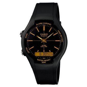 Casio Standard - นาฬิกาข้อมูลผู้ชาย สีดำ สายเรซิ่น รุ่น AW-90H-9EV