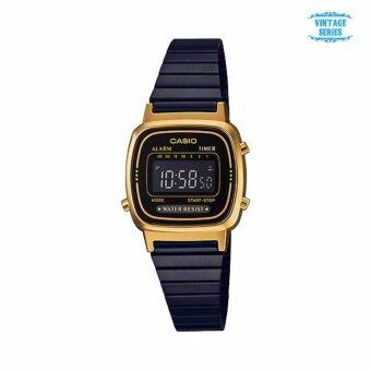 นาฬิกาคาสิโอ Casio Standard Digital Vintage Black-Gold LA670WEGB-1B