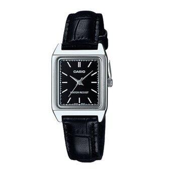 Casio Standard นาฬิกาข้อมือ สายหนัง รุ่น LTP-V007L-1EUDF - สีดำ/หน้าดำ