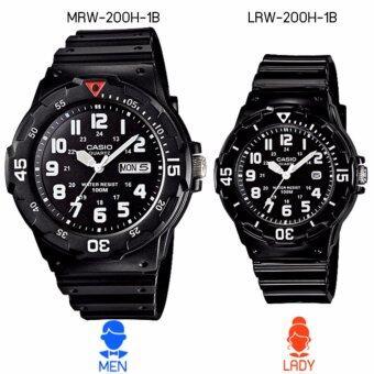 Casio Standard นาฬิกาข้อมือคู่ สายเรซิ่น รุ่น MRW-200H-1B (Wo+) - สีดำ