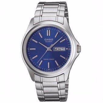 CASIO Standard นาฬิกาข้อมือผู้ชาย สีน้ำเงิน สายสแตนเลส รุ่น MTP-1239D-2ADF