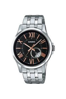 ราคา Casio Standard นาฬิกาข้อมือสุภาพบุรุษ สายสแตนเลส รุ่น MTP-E105D-1AVDF - เรือนเงิน/หน้าดำ