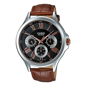 Casio Standard นาฬิกาข้อมือผู้ชาย สายหนังน้ำตาล รุ่น MTP-E308L-1AVDF (Black)