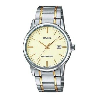 Casio Standard นาฬิกาข้อมือสุภาพบุรุษ สายสแตนเลสสองกษัตริย์ รุ่น MTP-V002SG-9AUDF - Silver/Gold