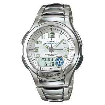 Casio Standard นาฬิกาข้อมือผู้ชาย สีเงิน/เงิน สายเรซิ่น รุ่น AQ-180WD-7BV