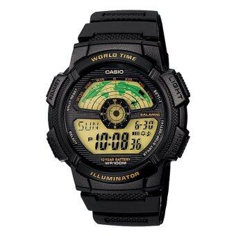 Casio นาฬิกาข้อมือ Standard World Time Map รุ่น AE-1100W-1B ( Black )