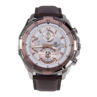 Casio Watch Edifice Chronograph Brown Stainless-Steel Case Leather Strap Mens NWT + Warranty EFR-539L-7A