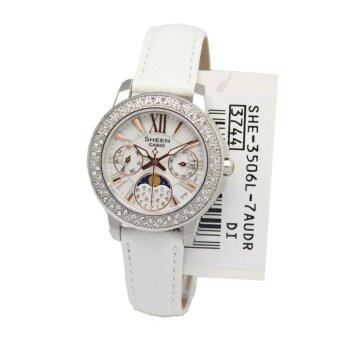 Casio Watch Sheen Moon Phase White Stainless-Steel Case Leather Strap Ladies NWT + Warranty SHE-3506L-7A