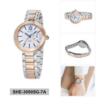 Casio Watch Sheen Multicolored Stainless-Steel Case Two-Tone-Stainless-Steel Bracelet Ladies NWT + Warranty SHE-3050SG-7A