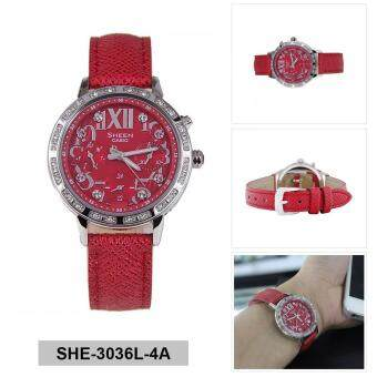 Casio Watch Sheen Red Stainless-Steel Case Leather Strap Ladies NWT + Warranty SHE-3036L-4A