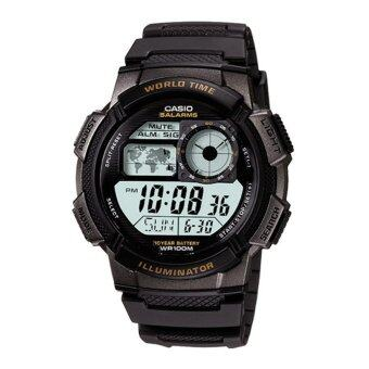 CASIO worldtime sport นาฬิกาข้อมือผู้ชาย สีดำ สายเรซิน รุ่น AE-1000W-1AVDF