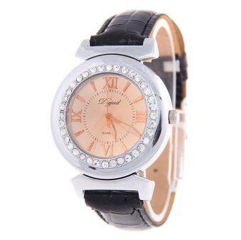 CE leather watch crocodile pattern ladies watch quartz watch\ndiamond watch fashion watch fashion single product couple fashion\nwatch selling single product round dial black strap silver dial -\nintl