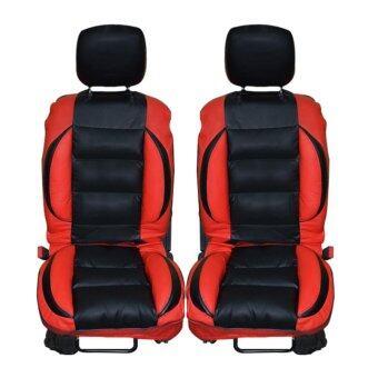 ชุดหุ้มเบาะแบบสวมทับ Free Size ชุดคู่หน้า (สีดำ/แดง)