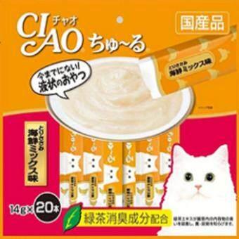 เปรียบเทียบราคา CIAO ขนมแมวเลีย ชูหรู เนื้อสันในไก่ผสมซีฟู๊ด จำนวน 20 ซอง แถมฟรี 1ห่อเล็ก