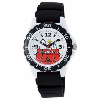 นาฬิกาเด็กซีตรอง PEANUTS (ถั่วลิสง) snoopy จอแสดงผลแบบอะนาล็อก 10 เครื่องเอทีเอ็มทนยูรีเทนสีขาว AA 96-0015 ชาย