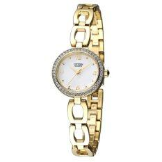 CITIZEN Quartz Ladies Watch Stainless Strap Crystal รุ่น EJ6072-55A - Gold/White
