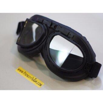 แว่นตากันลม Classic ทรงแว่นสงครามโลกครั้งที่ 2 สีดำ/ใส No.1