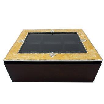 ขาย CMC กล่องไม้ใส่นาฬิกา/เครื่องประดับ ขอบมุก 6 ช่อง สีทอง