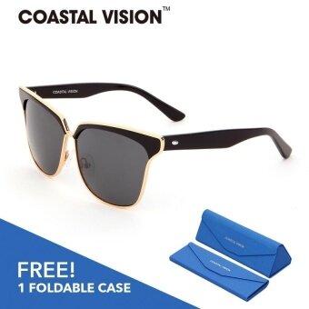 COASTAL VISION แว่นกันแดดสำหรับผู้หญิง กรอบทรงตาแมวสีดำเลนส์ป้องกันรังสี UVA/B CVS5023