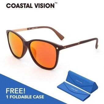 COASTAL VISION แว่นกันแดดโพลาไรซ์สำหรับผู้หญิง ทรงกรอบใหญ่สีน้ำตาล เลนส์ป้องกันรังสี UVA/B CVS5024