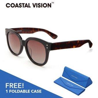 COASTAL VISION แว่นกันแดดโพลาไรซ์สำหรับผู้หญิง ทรงกรอบใหญ่สีดำ เลนส์ป้องกันรังสี UVA/B CVS5032