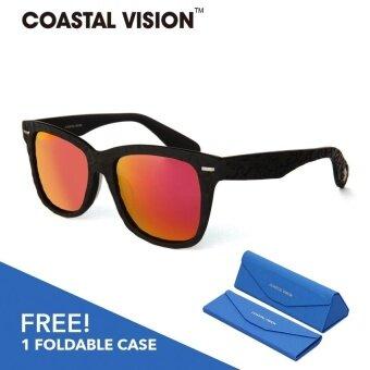 COASTAL VISION แว่นกันแดดโพลาไรซ์สำหรับผู้หญิงกรอบทรงสี่เหลี่ยมผืนผ้าสีดำด้าน เลนส์ป้องกันรังสี UVA/B CVS5817