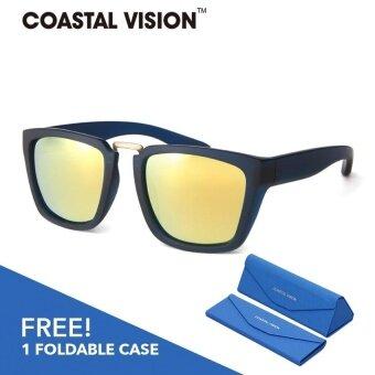 COASTAL VISION แว่นกันแดดโพลาไรซ์สำหรับผู้หญิงกรอบทรงสี่เหลี่ยมผืนผ้าสีดำ เลนส์ป้องกันรังสี UVA/B CVS5825