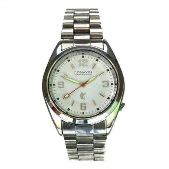 2561 CONAVIN นาฬิกาข้อมือผู้ชาย สีเงิน สายสแตนเลส รุ่น 010