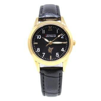 ประเทศไทย CONAVIN นาฬิกาข้อมือผู้หญิง ระบบ Quartz เรือนทองสายหนัง หน้าปัดคลาสสิค รุ่น CON-102LG